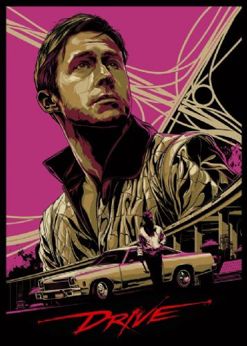 2010's Movie - DRIVE ALTERNATIVE POSTER - PINK canvas print - self adhesive poster - photo print